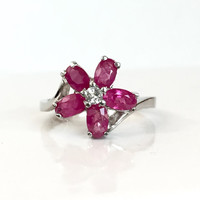 Ruby Sterling Silver Flower Ring Red Gemstone Ring July Birthstone Birthday Gift for Her Present Estate Spring Jewelry Ruby Ring Size 6