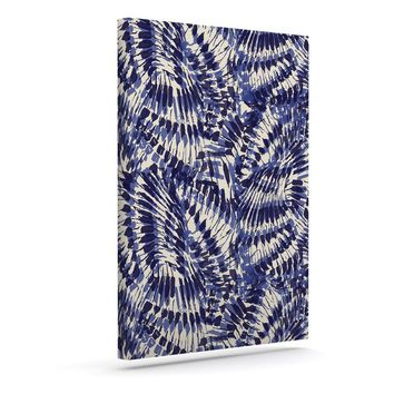 "Gukuuki ""Iggy Palms"" Navy Blue Canvas Art - Outlet Item"