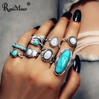 RAVIMOUR 8Pcs Anillos Mujer Boho Big Stone Women Rings Set Indian Jewelry Punk Antique Silver Feather Knuckle Rings Female 2018