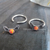 "Opal Captive Ring 14g 1/2"" Orange Opals Septum Daith Earring Piercing Conch Earrings Nipple Body Jewelry Rings Helix Cartilage Piercings"