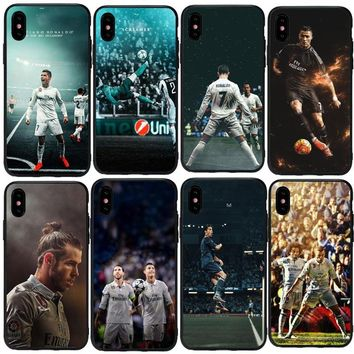Real Madrid Cristiano Ronaldo & Lionel Messi Phone Cases For iPhone5S SE 6S 6Plus 7  8 XS Max   X Black silicone TPU Case Cover