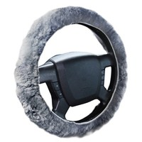 Zone Tech Plush Genuine Sheepskin Stretch On Vehicle Steering Wheel Cover Gray Car Wheel Protector - Walmart.com