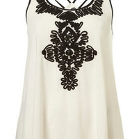 Ivory Cornelli Embroidered Ribbon Cross Back Strap Swing Top - New In This Week - New In - Topshop USA