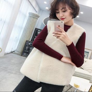 Stylish Hairy Shaggy Faux Fur Vest Winter Women V neck Faux Fur Sleeveless Coat Outerwear Beige Gray Khaki