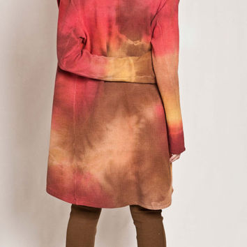 Tie dye Summer Cardigan Hues effect dyed jacket, multicolored earth tones, casual smart, urban, elegant OOAK // Ready to ship //