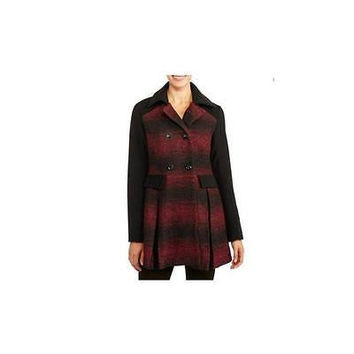 Women's Colorblock Faux Wool Swing Coat, Medium, Black/Red Ib Diffusion