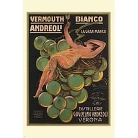 Vermouth Bianco Andreoli VINTAGE AD POSTER A Bresciani Italy 24X36 Prized