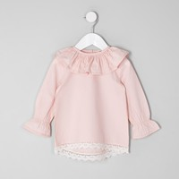 Mini girls light pink frill circle collar top - Baby Girls Tops - Mini Girls - girls