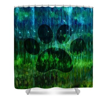 Moody Blue Paw Shower Curtain