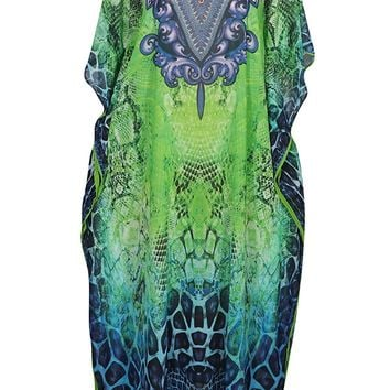 Mogul Womens Caftan Dresses Georgettina Digital Print Sexy Bikini Beach Cover Up Kaftan: Amazon.ca: Clothing & Accessories