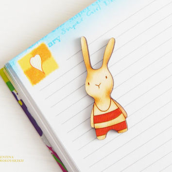 Banny brooch. Lovely wooden brooch. laser cut wood brooch. Cute Bunny Brooch, Hipster Jewelry