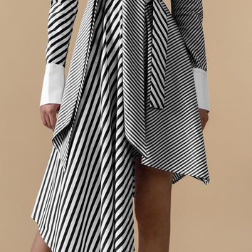 Striped Belted Midi Dress
