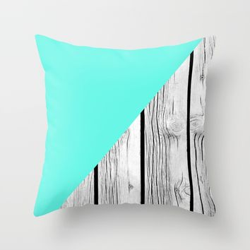 Aqua Blue vs Old Weathered Wood Throw Pillow by ARTbyJWP