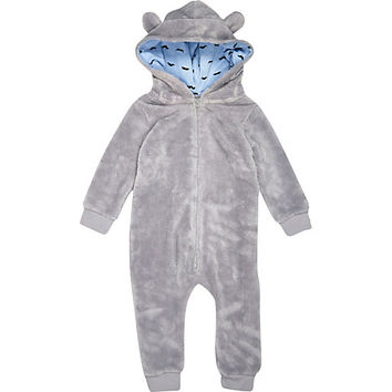 River Island Mini boys grey fluffy all in one