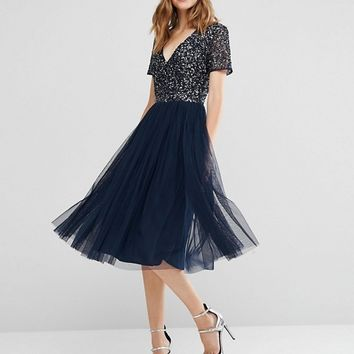 Maya V Neck Midi Tulle Dress with Tonal Delicate Sequins at asos.com