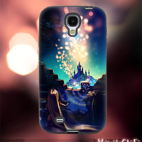MC611Y,15,Cartoon,Tangled,Rapunzel,night,Light -Accessories case cellphone-Design for Samsung Galaxy S5 - Black case - Material Soft Rubber