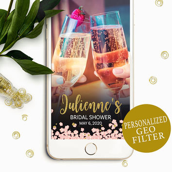 Bridal Shower Snapchat Filter-Pink and Gold Glitter Floral Snapchat Geofilter-Custom Snapchat Filter for  Bridal Shower-Bride to Be Filter