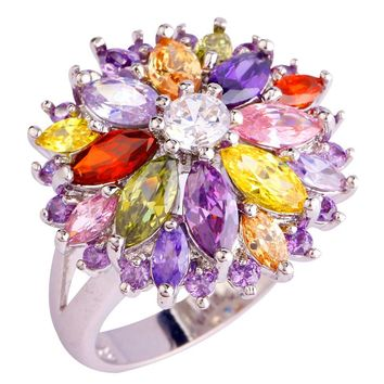 Peridot Garnet Citrine Amethyst White Topaz 925 Silver New Ring Size 7 8 9 10 Women Jewelry Flower Design