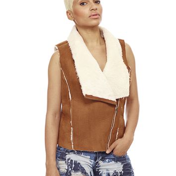 DAKOTA FAUX SUEDE SHEARLING VEST
