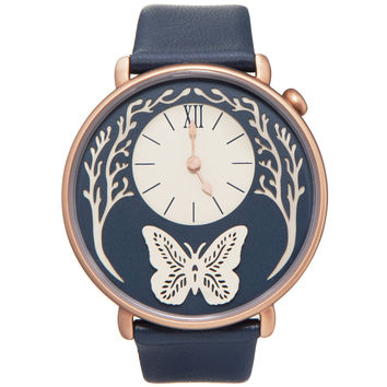 Dial - Rose Gold and Navy Blue Leather Butterfly Watch