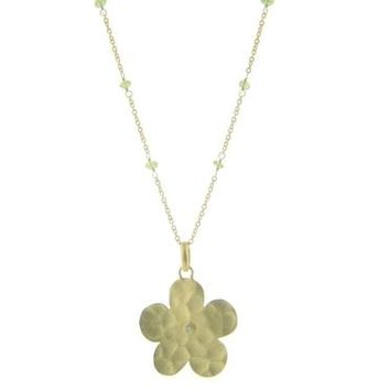 Hammered Flower & Natural Green Peridot Necklace