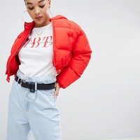 Boohoo crop hooded padded jacket in red at asos.com