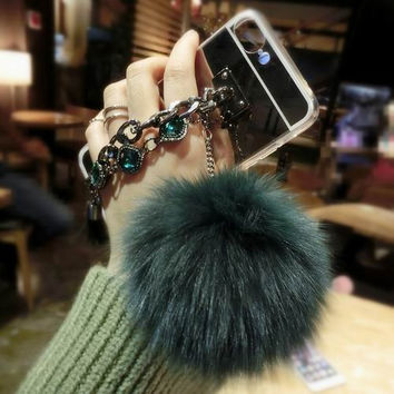 Luxury Diamond Double Chain Fox Fur Ball Silver Mirror Soft TPU Phone Back Cover Case For iPhone 5 5S SE 6 6S 7 Plus