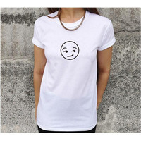 White Smiley Face Print Short Sleeve T-Shirt