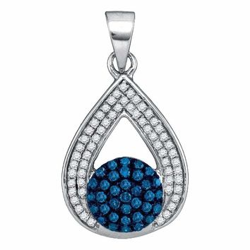 10kt White Gold Women's Round Blue Color Enhanced Diamond Teardrop Cluster Pendant 1-3 Cttw - FREE Shipping (US/CAN)