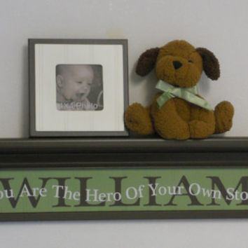 "Personalized Green Brown Baby Nursery Decor 30"" Shelf with Custom Name - You Are The Hero Of Your Own Story - Kids Room Wall Sign / Shelves"
