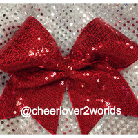Shiny Sequin Cheer Bow - (7 Colors to Pick From)