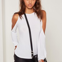 Missguided - Cold Shoulder Tie Cuff Tunic White