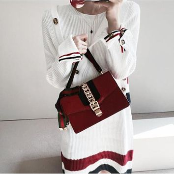 Fashion Multicolor Stripe Knit Sleeveless Dress Hooded Long Sleeve Buttons Cardigan Sweater Coat Set Two-Piece