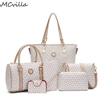 6pcs/Set Women Handbag Set Leather Composite set