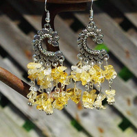Citrine Chandelier Earrings ~ Tibetan Silver Frame ~ Healing Stones ~ November Birthstone ~ Boho Jewelry ~ Bohemian Style ~ Birthday Gift