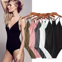 Sexy vest type pure color pink low chest A hollow one piece bikini swimwear show thin