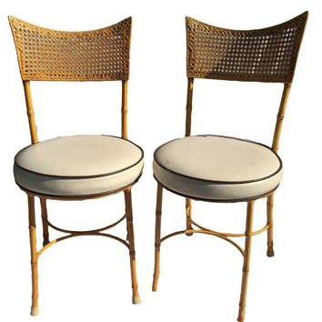 Pre-owned Vintage Cast Iron Metal Faux Bamboo Chairs