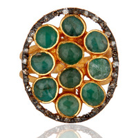 925 Sterling Silver Emerald Gemstone Pave Diamond Designer Ring