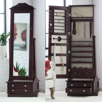 Belham Living Swivel Cheval Mirror Jewelry Armoire | www.hayneedle.com