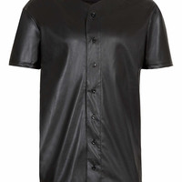 BLACK LEATHER LOOK BASEBALL T-SHIRT - New In - TOPMAN USA
