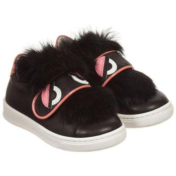 NOV9O2 Fendi Girls Black Leather Sneakers with Fur