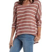 Red Combo Striped & Marled Sweater Knit Top by Charlotte Russe