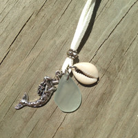 Sea glass mermaid necklace, Sea glass necklace