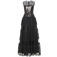 mytheresa.com - Leather And Lace Floor-Length Gown ∇ Valentino » mytheresa.com - Luxury Fashion for Women / Designer clothing, shoes, bags