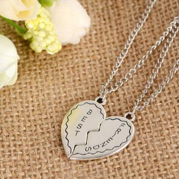 ONETOW New jewelry two splicing necklace broken heart necklace