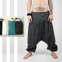 Harem Pants -  Black Aladdin Trousers - Yoga Pants - Hammer Pants - Cotton Afghani Pants - Alibaba Pants - Men - Woman - Winter