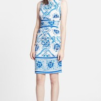 Dolce&Gabbana Tile Print Ruched Charmeuse Dress | Nordstrom