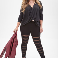 FOREVER 21 PLUS Mesh Panel Leggings Black
