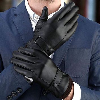 Men's Touch Screen Winter Warm Leather Windproof Driving Fleece Lined Gloves US