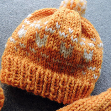 Orange heart hat, newborn pom pom hat, baby heart hat, baby pom pom hat, first valentines day, newborn moccs, baby moccs, cloth diaper cover
